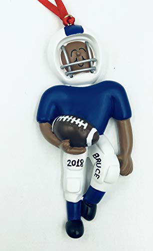 - Football Player Personalized Christmas Ornament-Handpainted - Free Customization by Gifts Center Ornament (African-American Blue)