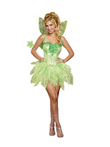 Tinkerbell Adult Costume - Dreamgirl Women's Fairy-Licious Costume, Green,