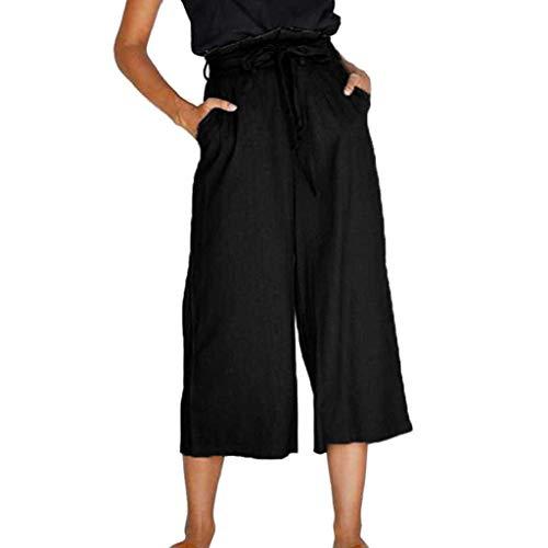 Belt Poplin Belted - iYYVV Women Solid Casual Belt High Waisted Loose Wide Leg Pants Yoga Long Trousers Black