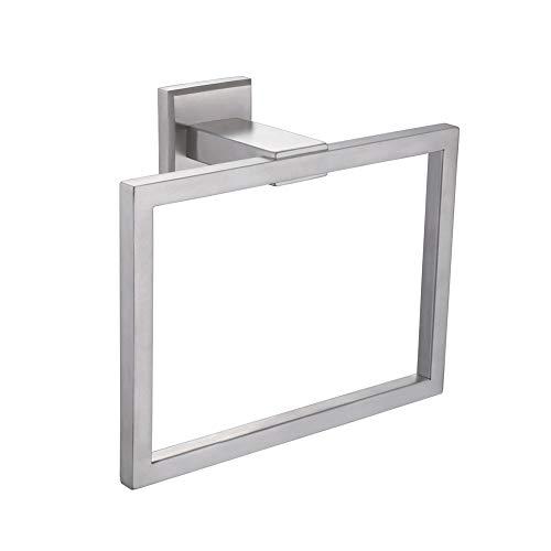 Towel Ring 7.09, Angle Simple SUS304 Stainless Steel Square Towel Holder, Hand Towel Rack, Bathroom Kitchen Towel Hanger Wall Mount, Brushed Nickel