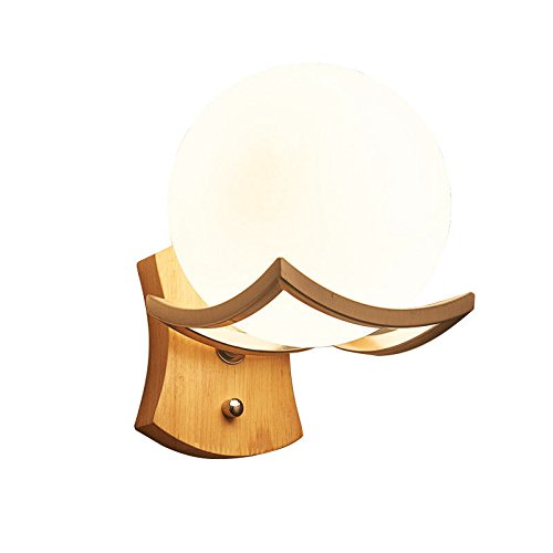 Nachttisch Wandleuchte Einfache Kreative Holz LED Schlafzimmer Wohnzimmer Gang Korridor Wandleuchten, Single Head Beige