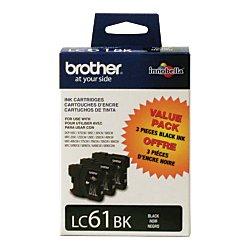 Brother LC61BK 3pk Black Ink Cartridges