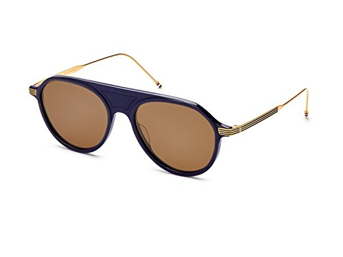 Sunglasses THOM BROWNE TB 809 C-NVY-GLD Navy-Yellow Gold w/ Dark - Brown Sunglasses Thom