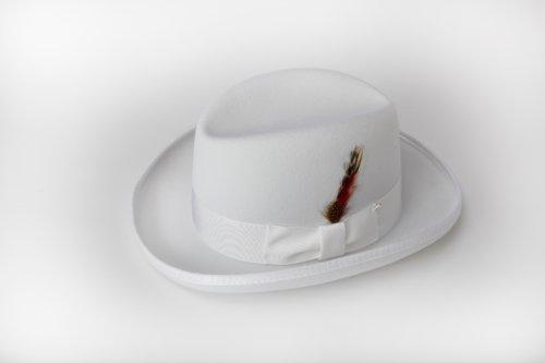 New Era Fedora (New Mens 100% Wool White Godfather Style Homburg Fedora Hat)