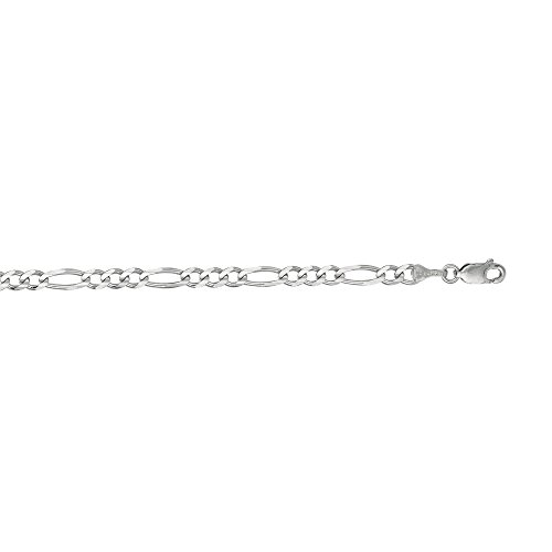 Or blanc 14 carats 8 X 3,9 mm-Maille Figaro Bracelet-JewelryWeb