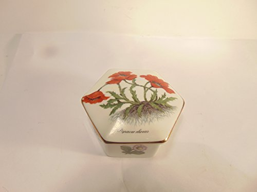 Fine bone china Staffordshire Miniature Treasure Box with PAPAVER RHOEAS Red Flowers on Lid