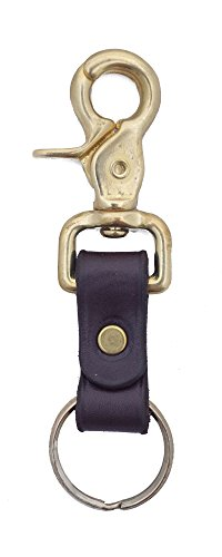 Clip Snake (Genuine Leather Key Chain Ring Fob Solid Brass Fixures, Attaches to Belt Loops, Made in the USA By Amish Craftsman - Great Gift for Dad, Uncle, or Grandpa)
