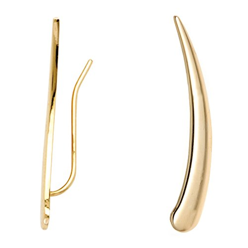 14k Yellow Gold Flat Curved Ear Climber Crawler Earrings 29 Mm by Ritastephens