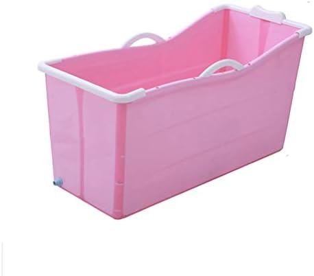 折りたたみバスタブ大人バスタブ、ポータブルお風呂バレル、家庭用タブ折りたたみシャワートレイ (Color : Pink)