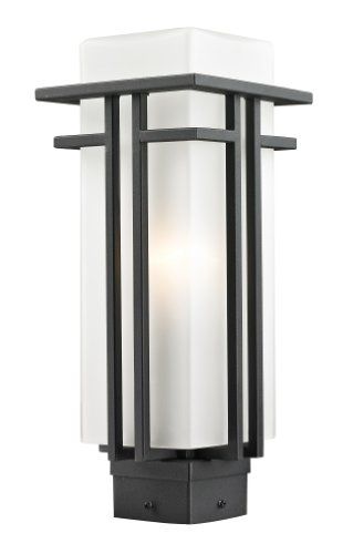 Z-Lite 549PHM-BK Outdoor Post Light with Matte Opal Shade, (Abbey Post Lantern)