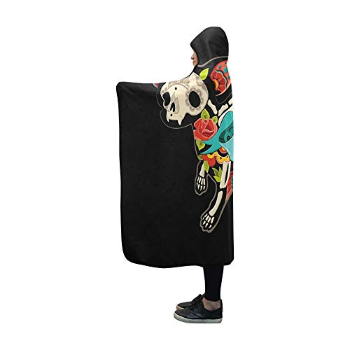YUMOING Hooded Blanket Greeting Card Dog Chihuahua Skeletons Floral Blanket 60x50 Inch Comfotable Hooded Throw Wrap (Skeleton Chihuahua)