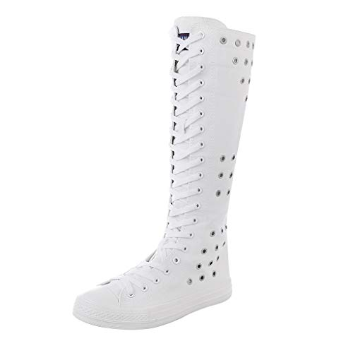 Fheaven Women's Knee High Long Boots Flat Zipper Lace Up Canvas Shoes Motorcycle Boots White