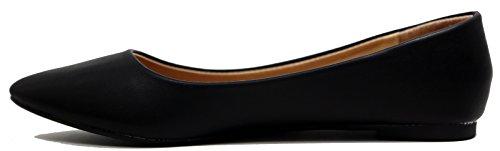 Walstar Womens Comfortable Point Toe Flat Pumps Shoes Pu Black DoqgCJrt2