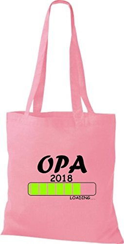 shirtinstyle Tela Bolsa Algodón Opa 2018 Carga parto Regalo - fucsia, 38 cm x 42 cm Rosa