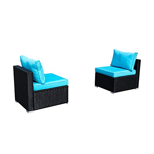 DOIT Outdoor Rattan Patio Garden Sofa,Wicker Patio Sectional Furniture Sofa Outside,Party Sofa,Conversation Set with Cushions and Glass Coffee Table (2 Pcs Wicker Sofa Sets(Blue))
