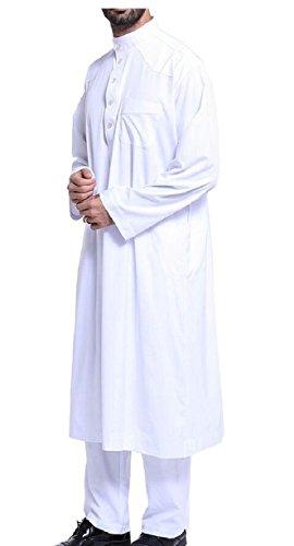 Keaac Men's Thobe Galabeya Thoub Abaya Robe Dishdasha Arabic Kaftan Muslim Dress White M