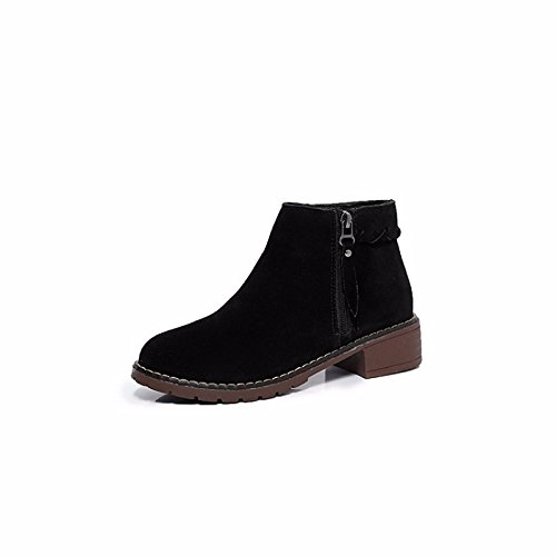 ZHZNVX HSXZ Zapatos de Mujer Otoño Invierno Gamuza Botas Botas de Combate Chunky Talón Puntera Redonda Botines/Botines de Almendra Casual Negro,Negro,US8/UE39/UK6/CN39