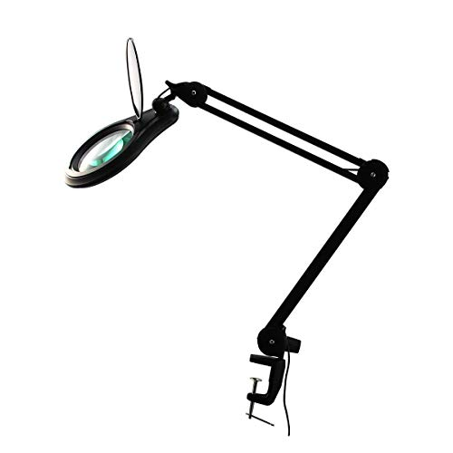 ESD Safe BoliOptics Professional LED Magnifying Lamp, Full Spectrum Daylight Bright Magnifier Glass Lens, Adjustable Swivel Arm + Clamp for Desk Table Craft Work Bench, Black, 8 Diopter, 5 inch Lens