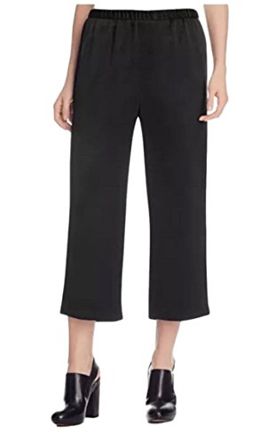 (Eileen Fisher Silk Crepe Backed Satin Straight Cropped Pants Black Large)