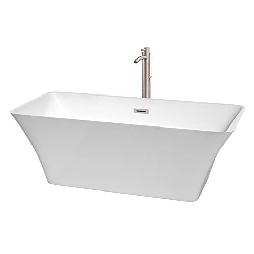 Wyndham Collection WCBTK150467ATP11BN Tiffany Freestanding Bathtub with Floor Mounted Faucet in Brushed Nickel, 67