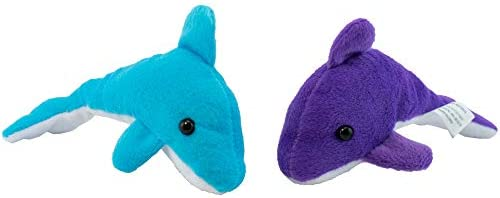 Giggle Time Plush Dolphin Assortment - (12) Pieces - Assorted Bright Colors - for Kids Boys and Girls Party Favors Pinata Stuffers Children\u2019s Gift Bags Carnival Prizes