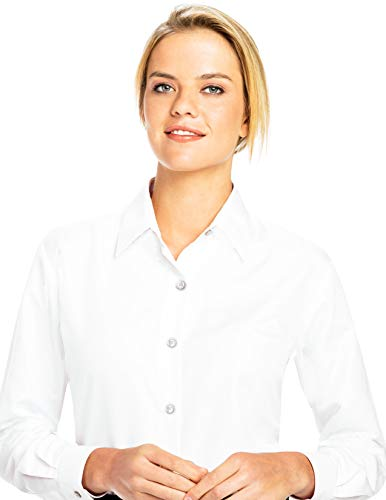 (Luxe Microfiber Women's Button-Down Shirt Long Sleeve Regular Fit Point Collar - Style Becky White)
