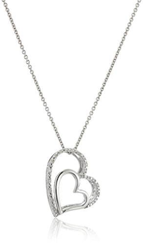 Sterling Silver Diamond Accent Double Heart Pendant Necklace, 18