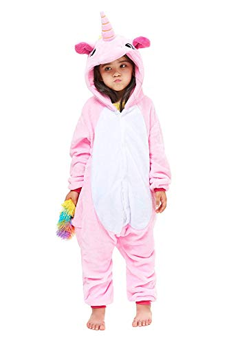 Kids Unicorn Costume Animal Onesie Pajamas Children New Pink Pegasus Age: 6 Years (Height 43.4-47.2 Inch)