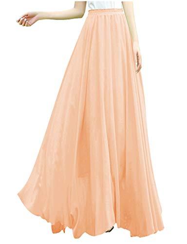 v28 Women Full/Ankle Length Elastic Retro Maxi Chiffon Long Skirt (L,Nude)