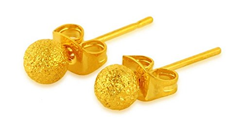 TuTu 24k Gold Plated 5mm Round Grind arenaceous Ball Stud Earrings A pair