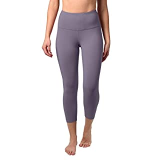 """90 Degree By Reflex High Waist Squat Proof Capris - 22"""" Interlink Workout Capris - Frosted Grape - Small"""