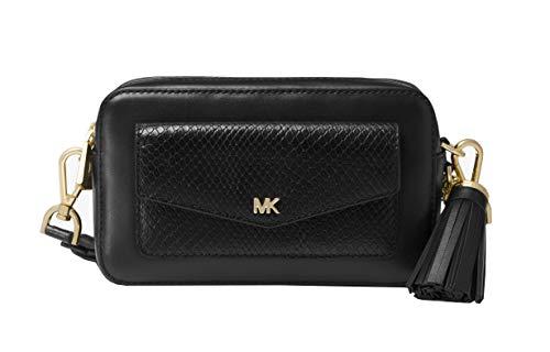 (Michael Kors Small Leather Camera Crossbody Bag (Black Snake)