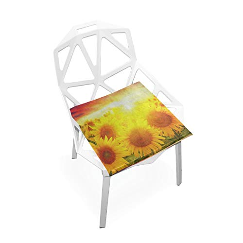 (YETSH Seat Cushion Colored Sunshine Sunflower Field Seat Pads Square Cushion 16 x 16 Inch Memory Foam Chair Pads for Office/Car/Dining Chair)