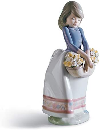 LLADR May Flowers Girl Figurine. Porcelain Girl with Flowers Figure.