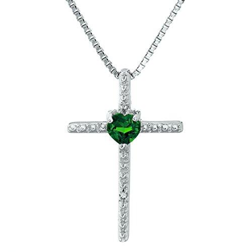 (Lavari - .10 Ct Heart Green Emerald Diamond Sterling Silver Cross Pendant 18
