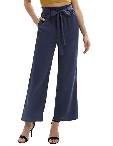 Women Wide Leg Pants Casual High Waist Belted Palazoo Trousers Navy Blue