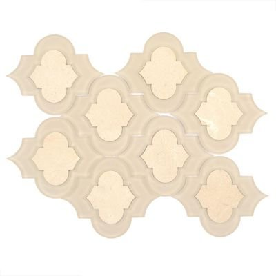 Crema Marfil Marble and Glass Mix Arabesque Tile
