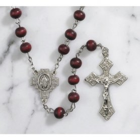 Catholic Rose Scented Wood Rosary Rose Scented Wood/zinc Alloy Size: 7 Mm; 21