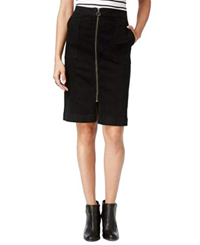 (Style&Co Petite Zip-Front Denim Skirt (Black Jewel, 6P))