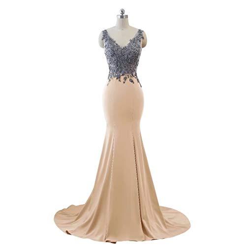 Frauen Ausschnitt Kleider Formale Mermaid V Party 12 Doppel Abendkleid Lange 4r4qY7