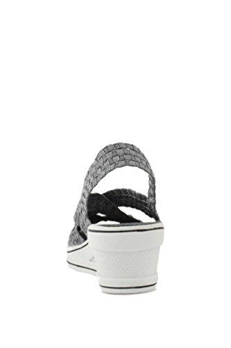 Peep Lux Bernie Toe Strappy Wedge Women's Mev Gigi Heather Woven Grey xYqrS5Tqw
