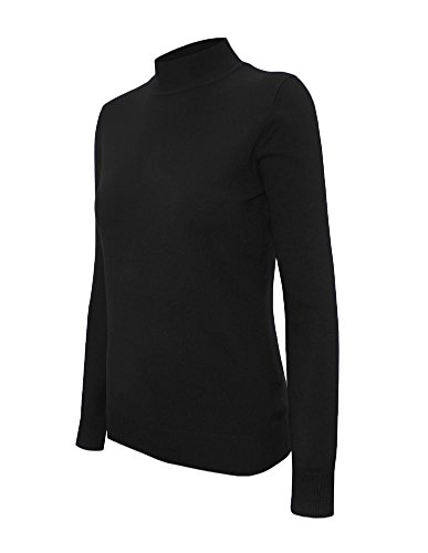 (Cielo Women's Solid Basic Stretch Mock Neck Pullover Knit Sweater Black S )