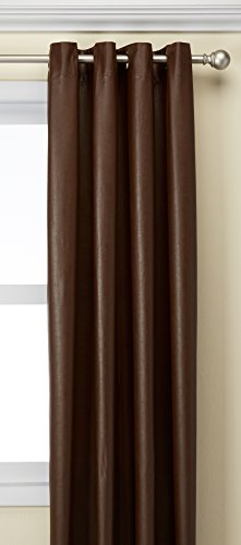 United Curtain LTHG108BR Leather 8 Grommet Window Curtain Panel, 52