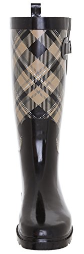 Capelli New York Ladies Shiny Plaid Printed Rain Boot Warm Sand 9 by Capelli New York (Image #3)
