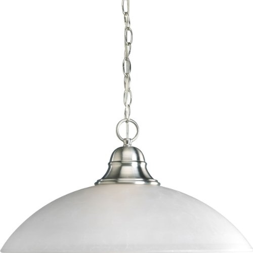 Progress Lighting P5084-09 1-Light Pendant In Etched Watermark Glass with Traditional Values Twisted Wire Details and Wound Bands, Brushed (09 Etched Glass)