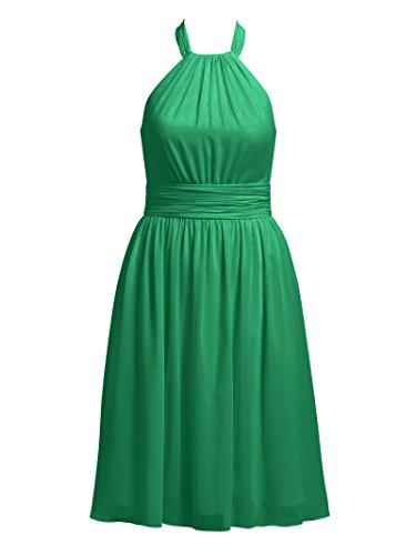 Bridesmaid Alicepub Dresses Evening Halter Dress Chiffon Knee Cocktail Short Length Emerald Party Rxq45