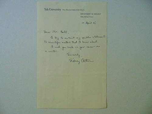"""RARE""""Nobel Prize in Chemistry"""" Sidney Altman Hand Written Letter Dated 1995 COA from Unknown"""