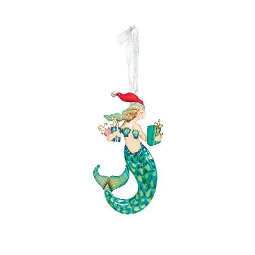 Christmas Tree Ornament – Hanging Xmas Holiday Decoration, Decorative Embellishment in Winter Holliday Design, Santa Mermaid with Gifts, 7 Inches (Capiz Christmas Ornaments)