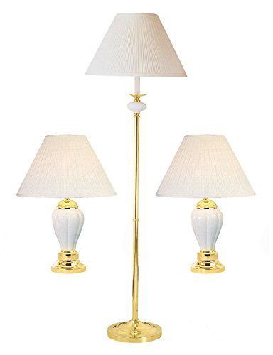 Ore International K-4101IV-31 Ceramic/Brass Table Plus Floor Lamp, Ivory, Set of 3 by ORE
