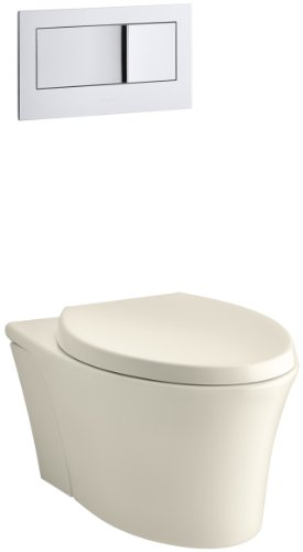 KOHLER K-6299-47 Veil Wall-Hung Elongated Toilet Bowl, Almond